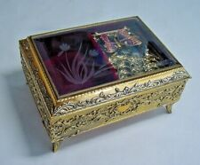 Music Box - Mechanical Butterfly Automation - Metal Case - Beveled Glass Top