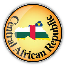 Central African Republic Map Flag Label Car Bumper Sticker Decal 5'' x 5''