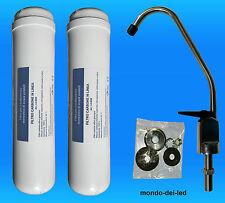 """2 Filtri Carbone 12"""" (Inline) + 1 Rubinetto cromato per Depuratori, Acquari"""