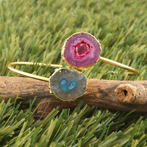Aqua Purple Natural Solar Quartz Gold Plated Adjustable Bangle Bracelet For Her