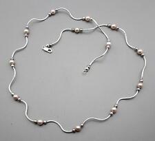 Silberkette mit echten Süßwasserperlen Halskette für Damen  64 cm