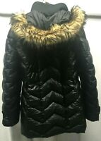 Womens LANDS END Down Coat S Small Faux Fur Hood Winter Parka Quilted