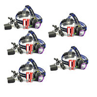 5PCS 5000LM LED Headlamp Head Light Torch w/ 2x18650 Battery + Charger US