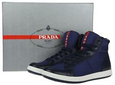 NEW PRADA MEN'S BLUE LEATHER TECHNO LOGO HIGH TOP SNEAKERS SHOES 9.5/US 10.5