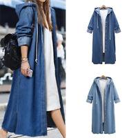 Women Hoodie Denim Long Coat Long Sleeve Loose Hooded Outwear Casual Jean Jacket