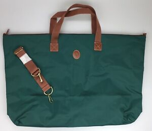 "Authentic Large 26"" Polo Ralph Lauren Tote Bag Green Brown PVC Shoulder Strap"