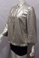 BNWT New Akris Women Silver Champagne Cocktail Cardigan Jacket Sequins Blazer 10