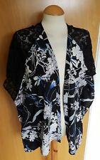 ladies KIMONO blue black lace shoulders size 8 10 cover up jacket