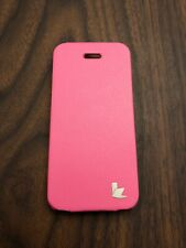 Jisoncase Pink Genuine Leather Magnetic Case for iPhone 5 / 5s / SE