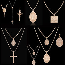 Double Layer Gold Cross Necklace Set Jesus Gold Chain Choker Necklace Women Hot
