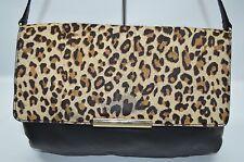 Talbots Cheetah Calf Hair Flap Leather Shoulder Bag Clutch Purse