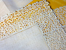 More details for vintage irish crochet laces ivory placemats and napkins set of 16.