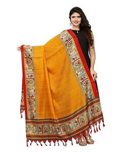 Indian women fashion Bhagalpuri silk printed dupatta,Scarf,Chunni,Stole(yellow)