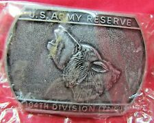 Nip Us Army Reserve 104th Division (Tng) Solid Pewter Belt Buckle Howling Wolf