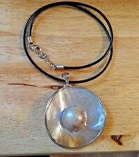 """2"""" Sterling Silver Reversible Pearl Pendant 17-19"""" Black Leather Choker Necklace"""