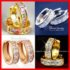 9K YELLOW ROSE GOLD GF HUGGIES HOOP SQUARE SIMULATED DIAMOND SOLID WOMEN EARRING