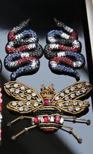 3 Rhinestones Beaded Mirror Snake Bee Embroidered Applique DIY Sew On Patch Set