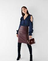 New Express Silky Ruffle Cold Shoulder Long Slve Shirt Retail $59.90 Sm Blue