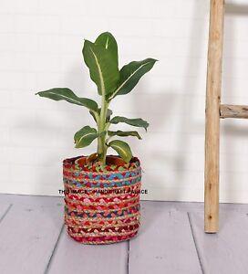 Rond Tressé Jute Pots Plante Légumes Pochette Racine Récipient Grow Sac Jardin