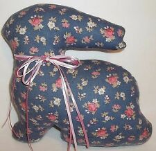 Vtg. Country Bunny Rabbit Decor Floral Flannel Print Pillow Blue Easter 9""