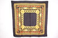 CHANEL 88cm Large format Scarf 100% Silk Coco mark logo Chain Stall Black 3549k
