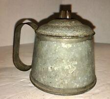 Antique American Whale Oil Hand Lamp, Original Burner, c. 19th Century