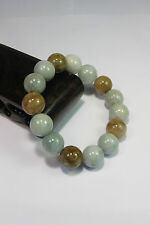 Naturel Classe A light yellow/blanc jade 10 mm perlé élastique bracele15 perles