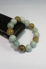Natural Grade A light yellow/white  jade 10 mm beaded stretchy bracele(15 beads)