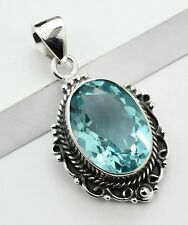 ANTIQUE STYLE BLUE TOPAZ STONE 925 STERLING SILVER NECKLACE PENDANT SIZE 1 5/8""
