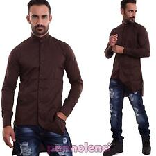 Camisa de hombre collar coreano sesgo manga larga colores casual nueva FAC7-22