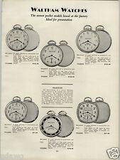 1930 PAPER AD 2 Sided Waltham Pocket Watch 17 19 21 Jewel Gold