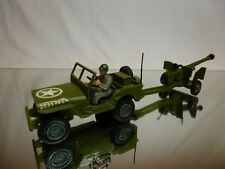 DINKY TOYS US JEEP WILLYS + ANTI TANK GUN - ARMY GREEN - GOOD CONDITION