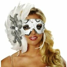 WHITE WINTER'S EVE FEATHER MARDI GRAS MASK SNOW QUEEN MASQUERADE COSTUME MASKS
