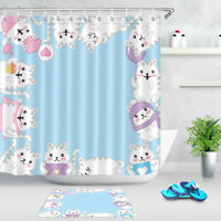 Lovely Cats Light Blue Shower Curtain Hooks Waterproof Polyester Bathroom Mat