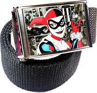 Harley Quinn DC Comics Belt Buckle Bottle Opener Adjustable Web Belt