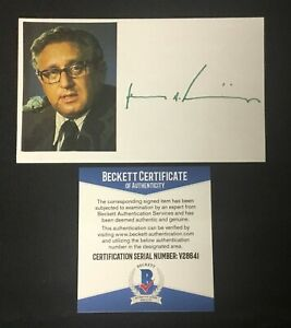 Henry Kissinger Signed Cut Signature Card w/ Photo Authentic BAS Beckett COA *41