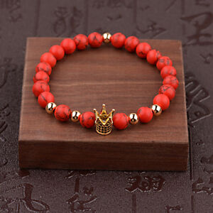 Charm Women Men Zircon Pave Crown 8mm Round Ball Red Turquoise Stretch Bracelets