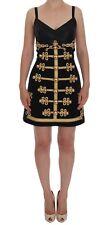 NEW $7200 DOLCE & GABBANA Dress Black Wool Stretch Gold A-Line Shift IT40 /US6/S