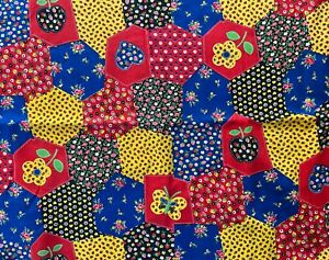 2+ Yds Vtg Patchwork Calico Floral Red Yellow Black Cotton Quilt Fabric 43x86""