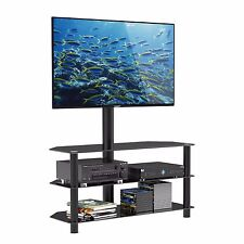 "Black Glass TV Stand Cantilever with Wall Bracket for 32-55"" Plasma LCD LED TVs"