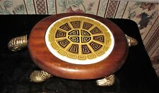 Mid Century Turtle Cheese Tray W Ceramic Center And Turtle Head Knife. Japan