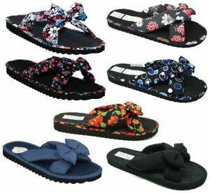 WOMENS Floral Bow Slip on Summer Mules Flip Flops Beach Sandals SIZE 3 4 5 6 7 8