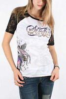 Sinful AFFLICTION Womens T-Shirt HERBAL Laced Sleeves RHINESTONES Biker $58