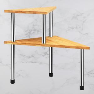 2 Tier Triangular Storage Shelf Table Counter Top Rack Kitchen Organiser Wood