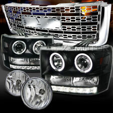 07-12 Sierra 1500 Black Halo Projector Headlights+Chrome Fog Lamps+Mesh Grille