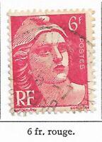 Timbre France Marianne de Gandon 1945-47  Typographiés - N° 721 6 fr rouge