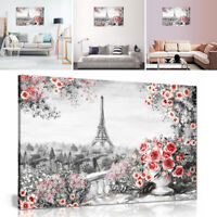 Paris Oil Painting Artwork Red Roses Canvas Wall Art Picture Print Unframed Deco