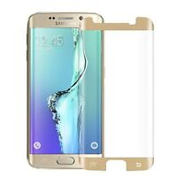 Case Friendly S6 Edge Gold 5D Clear Tempered Glass Screen Protector Front Cover
