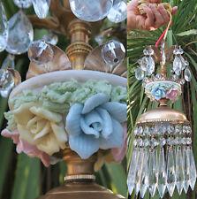 1 Brass Beaded chandelier Swag vintage lamp Porcelain Rose & flowers prisms mini