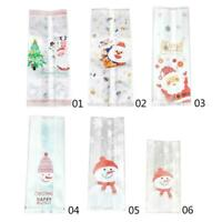 50 Pcs Christmas Bag Santa Claus Snowman Cellophane Gift Candy Cookie Fudge D7R6